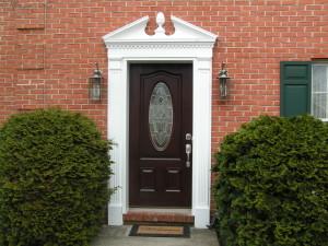 Dark cherry wooden door